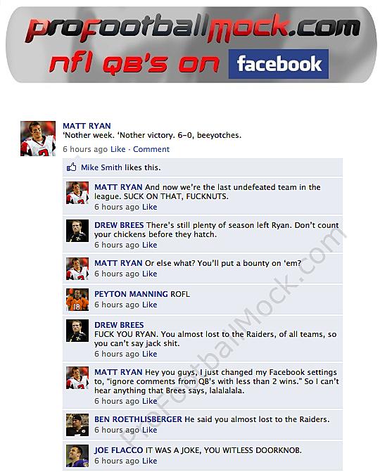 fake facebook conversation between nfl quarterbacks