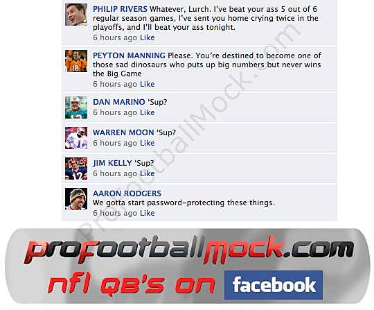 fake facebook conversation between nfl quarterbacks