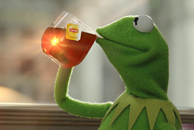 kermit the frog sipping tea commercial