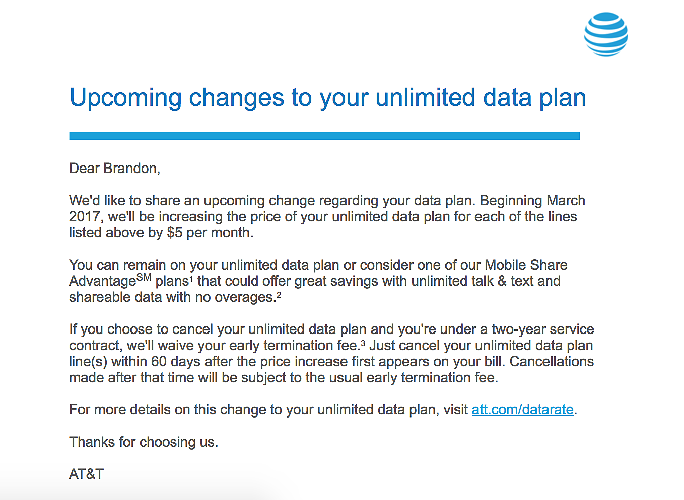 at&t raising price on grandfathered unlimited data plan
